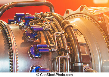 Engine close-up, tube metal industry construction.