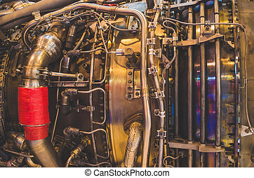 Engine close-up, tube metal industry construction