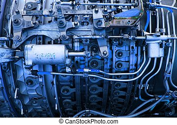 Engine - Closeup of parts of a jetplane engine in blue tint