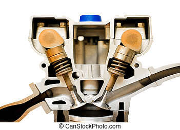engine cutaway - isolated cutaway model of a vehicle engine