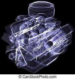 engine., dízel, röntgen, render