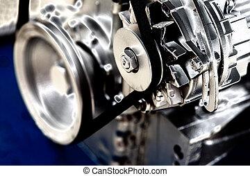 Engine detail - Close up of transmission belt on car engine