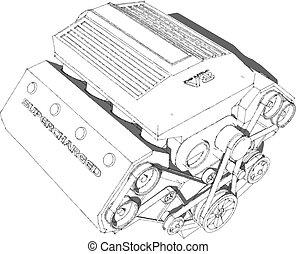 engine., eight-cylinder, gyulladás, erős, belső