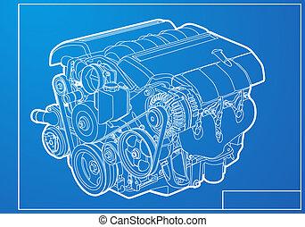 Engine - vector engine on blue background
