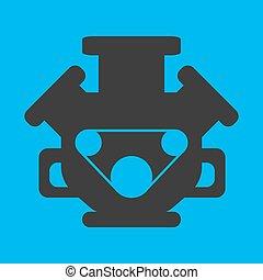 Engine flat icon on background. Vector illustration. Isolated.