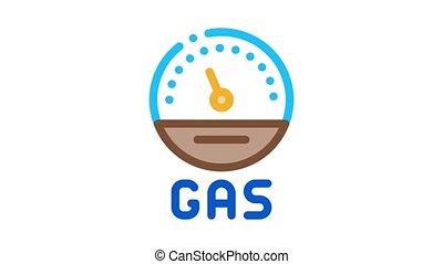 engine gas indicator Icon Animation. color engine gas indicator animated icon on white background