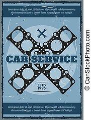 Engine gasket poster. Vector car service station - Car...