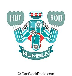 engine hot rod muscle car speedster logo t-shirt poster banner vector