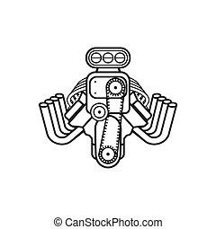engine hot rod muscle sport car speedster icon vector