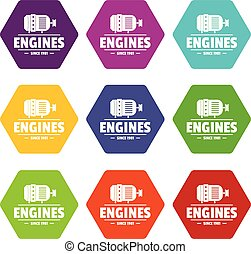 Engine icons set 9 vector