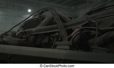 Engine in a car with wires - Motor in the car