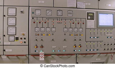 Engine monitoring panel, control room, mercy ship - mid...