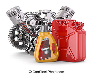 Engine, motor oil canister and jerrycan. 3d
