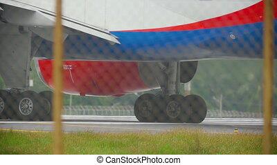 Engine of airplane close up