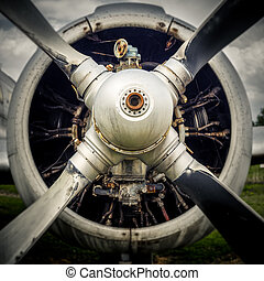 Engine of an old airplane