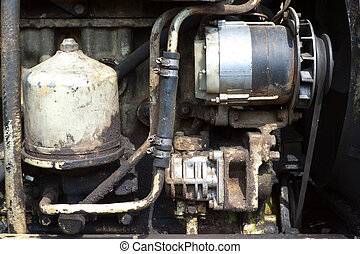engine of old tractor