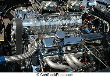 Detail of engine of vintage hot rod