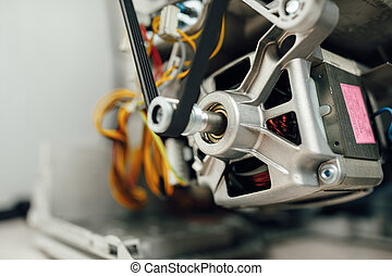 engine of washing machine with belt roller