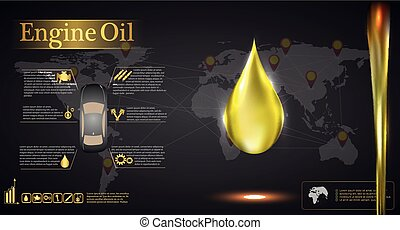 Engine oil against the background of the world map, car ...