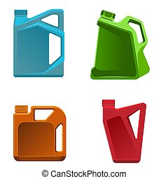 Engine oil bottle vector illustration of different color containers