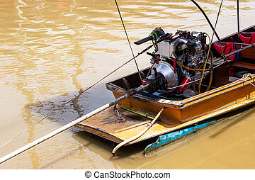 Engine on a longtail boat of amphawa floating market in ...