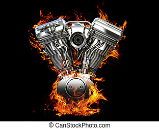 Engine on fire - Chromed motorcycle engine on fire on a...