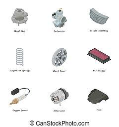 Engine part icons set, isometric style