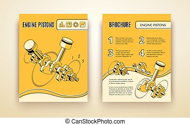 Engine pistons booklet isometric vector template - Modern...