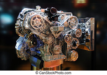 Engine power. - Close-up shot of an automobile engine on...