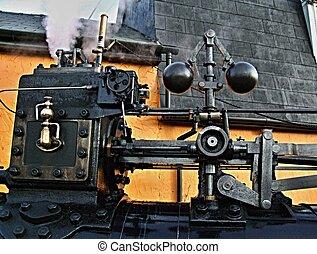 engine., rész, gőz