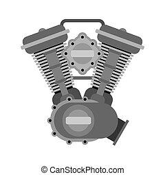 Engine racing bike. Motor motorcycle isolated. Vector illustration.