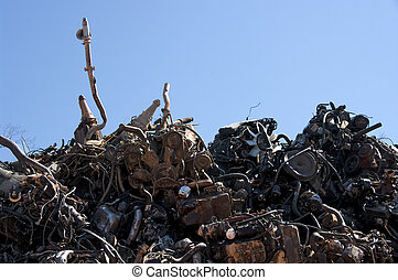 A pile of car engines for recycling