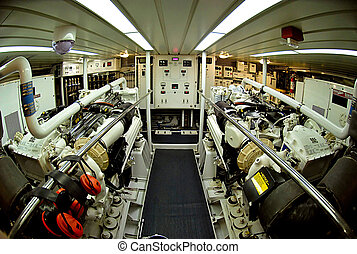 Engine Room - Large marine diesel engines