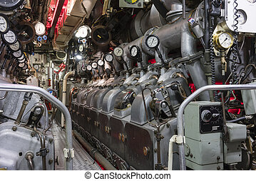 Engine room of submarine