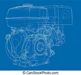 Engine sketch. Vector