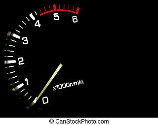 Engine speed meter on a black background