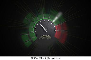 engine speeds - auto tachometer on black background. green...