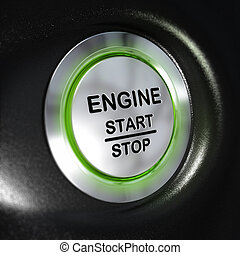 Engine Start and Stop Button, Automobile Starter - close up...