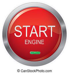 Engine Start Glossy Button, EPS10 Vector illustration.