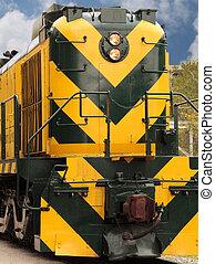 Engine - Brightly colored train engine.