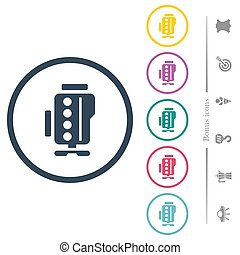 Engine symbol flat color icons in round outlines