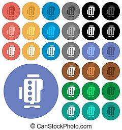 Engine symbol round flat multi colored icons