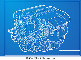 Engine - vector engine on blue background