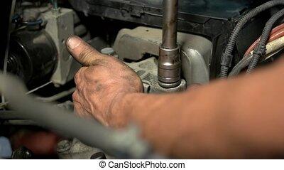 engine., vis, fin, visser, haut, hermétiquement, voiture