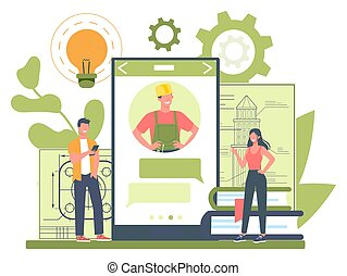 engineeering, online, profissional, consultation., serviço, platform., ou