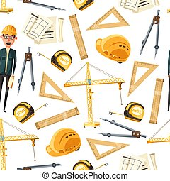 Engineer and architect tools, seamless pattern