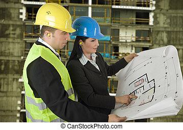 Engineer and client on site