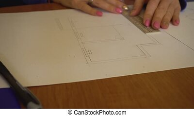 Engineer architect drawing sketch for home - Engineer...