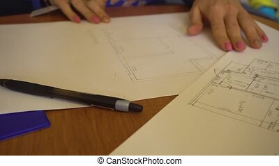 Engineer architect drawing sketch of an appartment -...