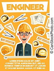 Engineer, architector and tools. Vector